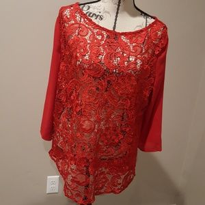 Brick Red Charming Charlie lace blouse